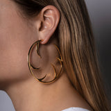 Statement Cat Claw Yellow Gold Vermeil Hoop Earrings