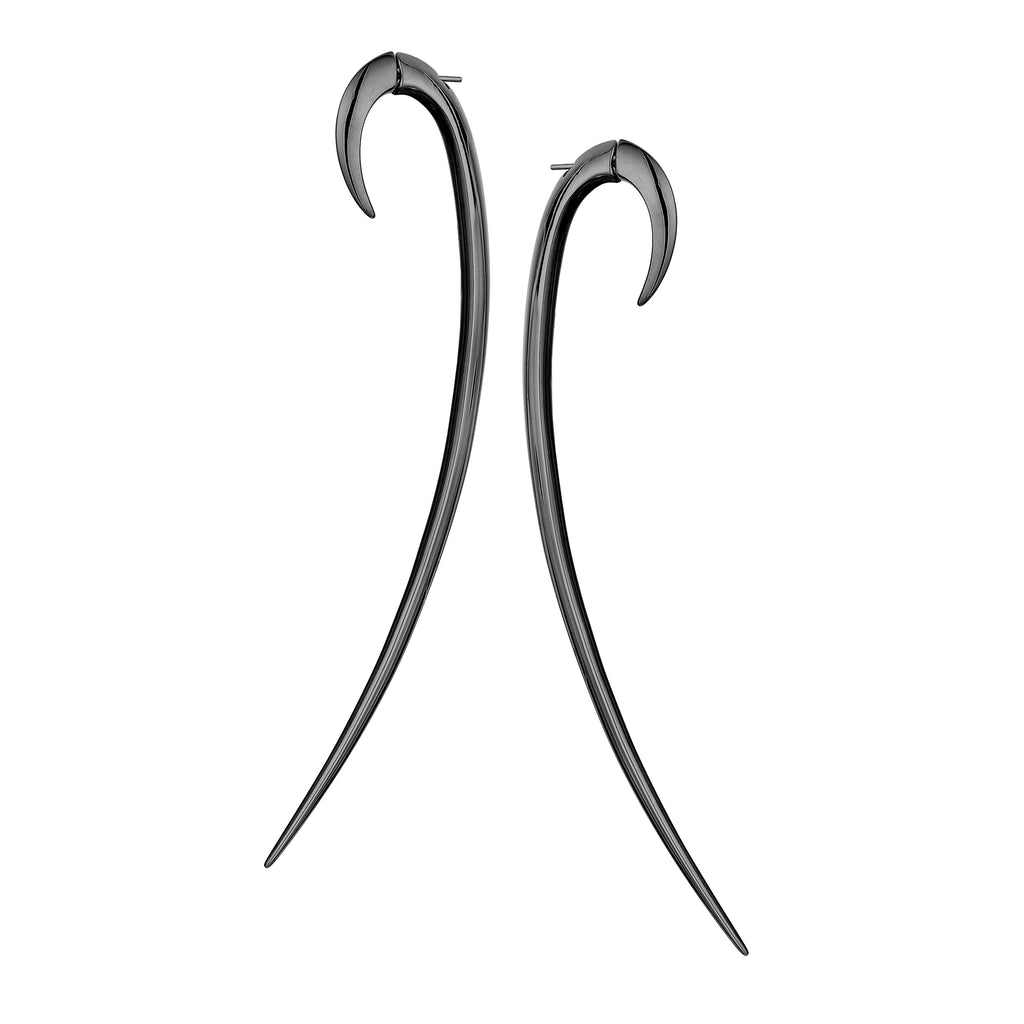 Silver Black Rhodium Statement Hook Earrings