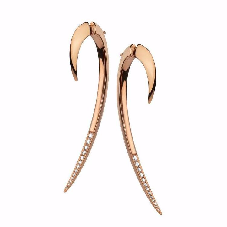 Rose Gold Vermeil and<br>Diamond Hook Earrings Size 2