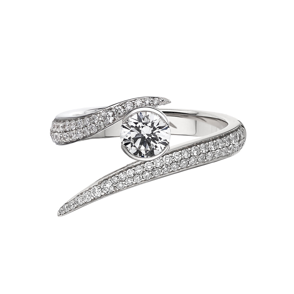 18CT White Gold 0.50CT Diamond Solitaire Interlocking Ring