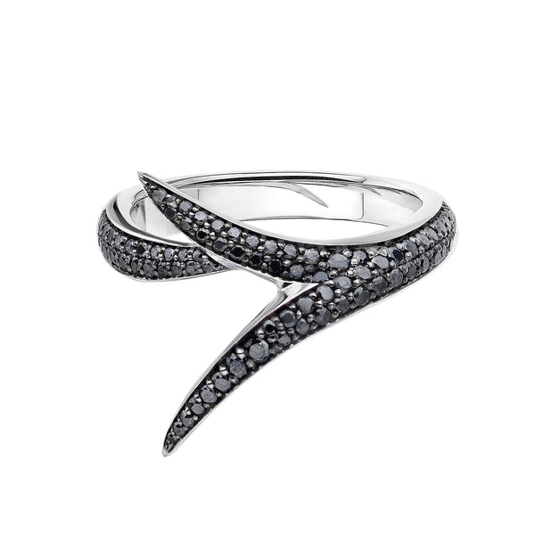 18ct White Gold And Black Diamond Embrace Ring