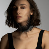 Silver Black Rhodium Statement Quill Choker