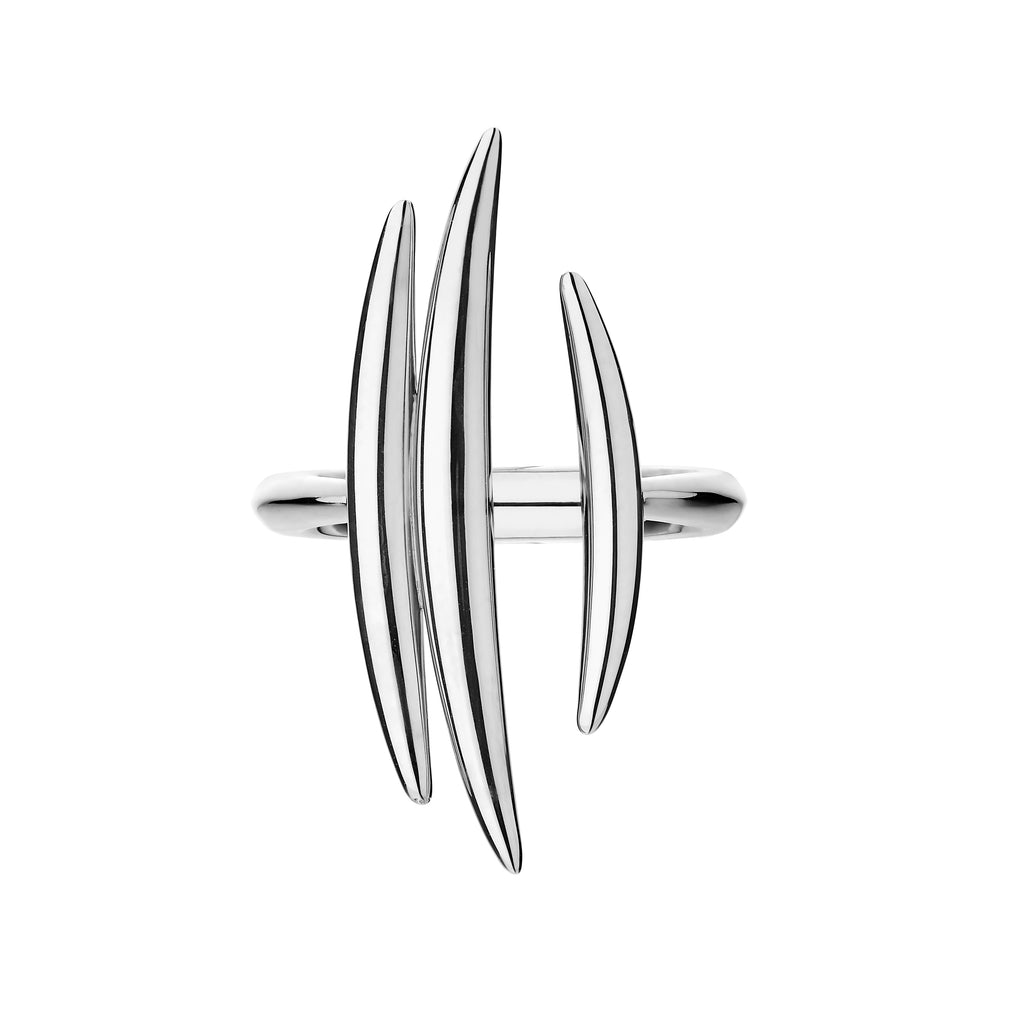 Silver Quill Triple Bar Ring