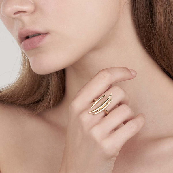 Yellow Gold Vermeil Quill Triple Bar Ring