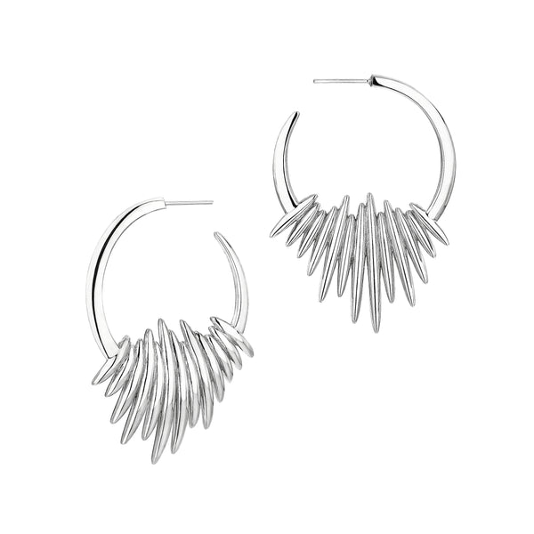 Silver Quill Hoop Earrings