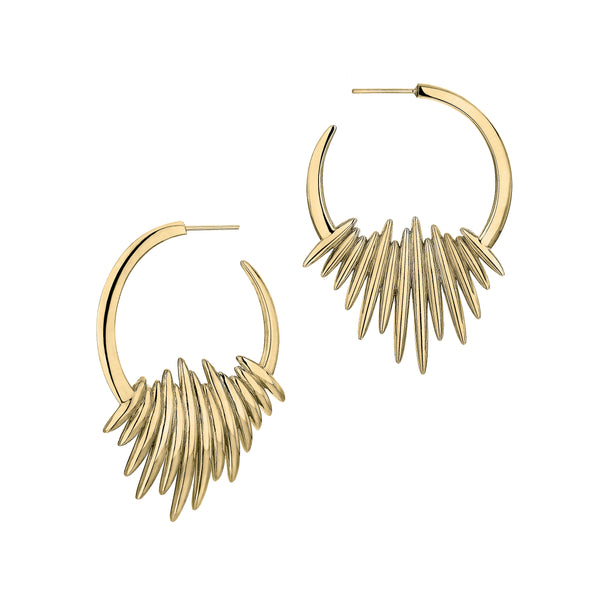 Yellow Gold Vermeil Quill Hoop Earrings