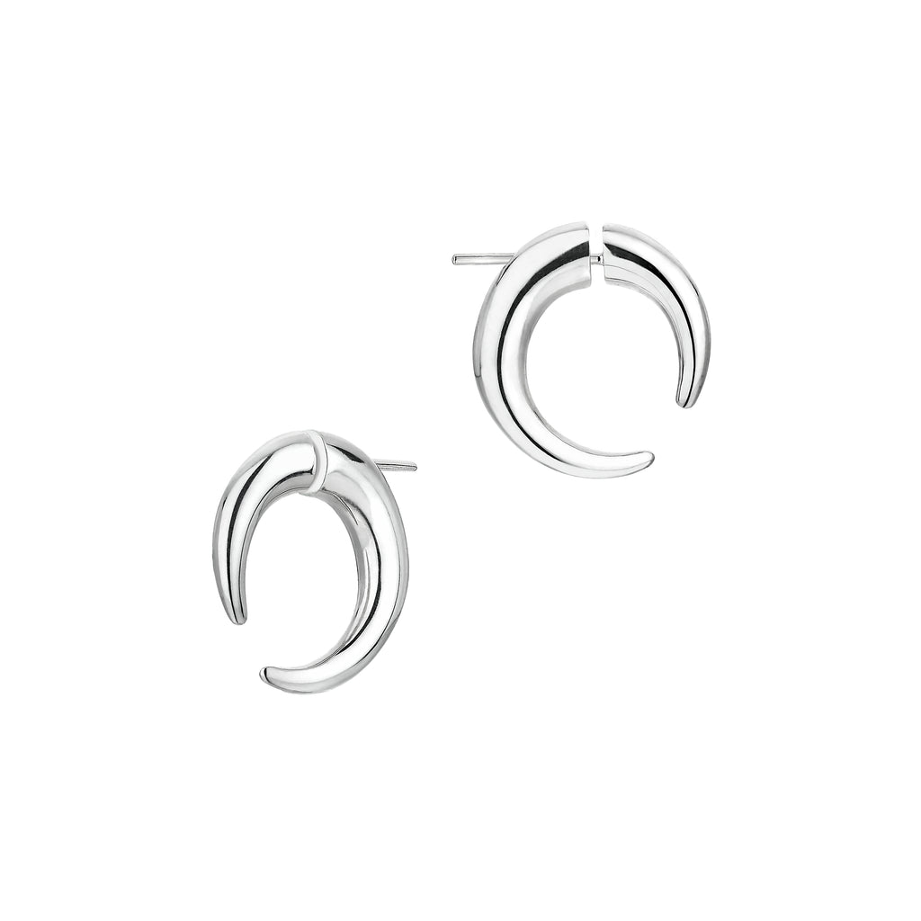 Silver Small Hoop Talon Earrings