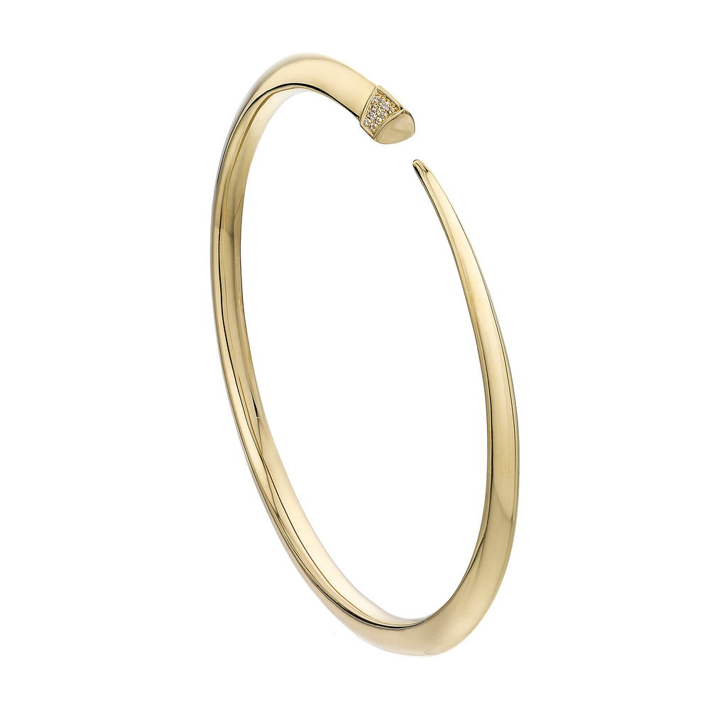 Yellow Gold Vermeil Diamond Slim Tusk Bangle