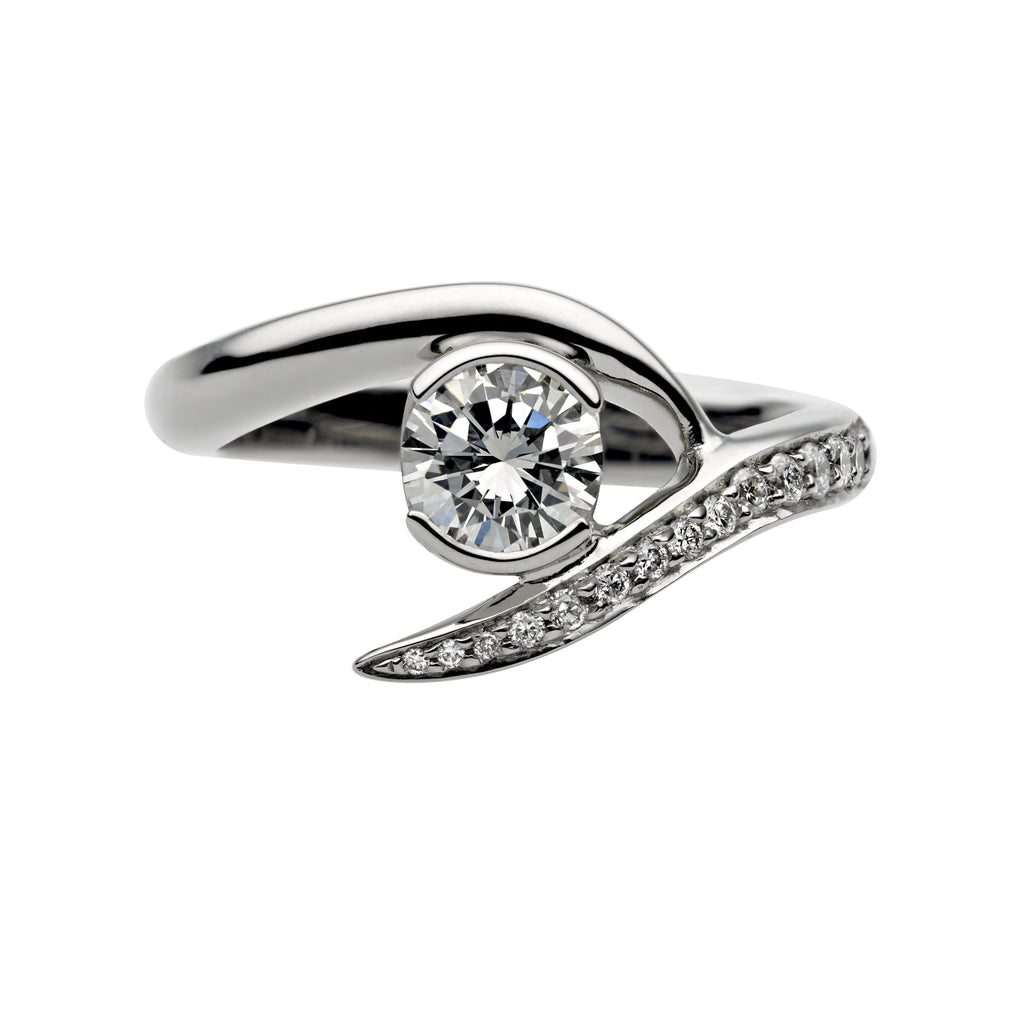 Platinum 0.35ct Diamond Inward Entwined Engagement Ring