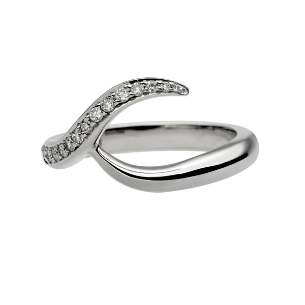18ct White Gold 0.35ct Diamond Inward Entwined Wedding Ring