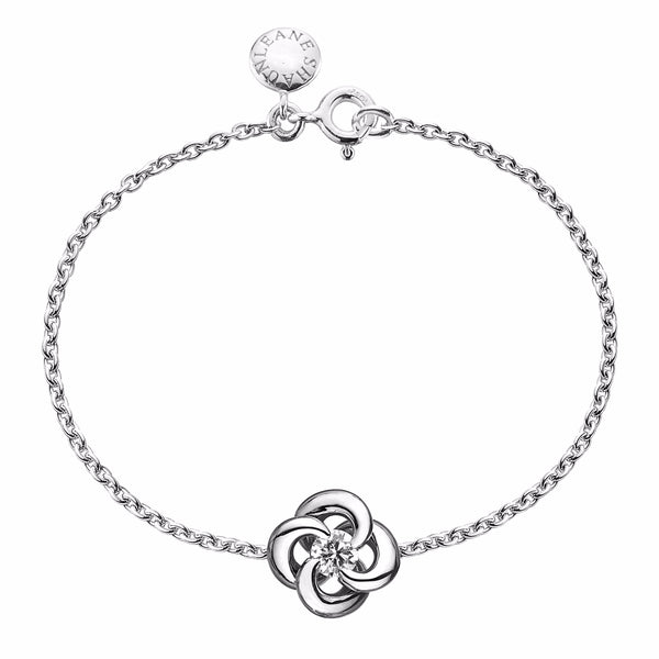 18ct White Gold 0.10ct Diamond Entwined Petal Flower Bracelet