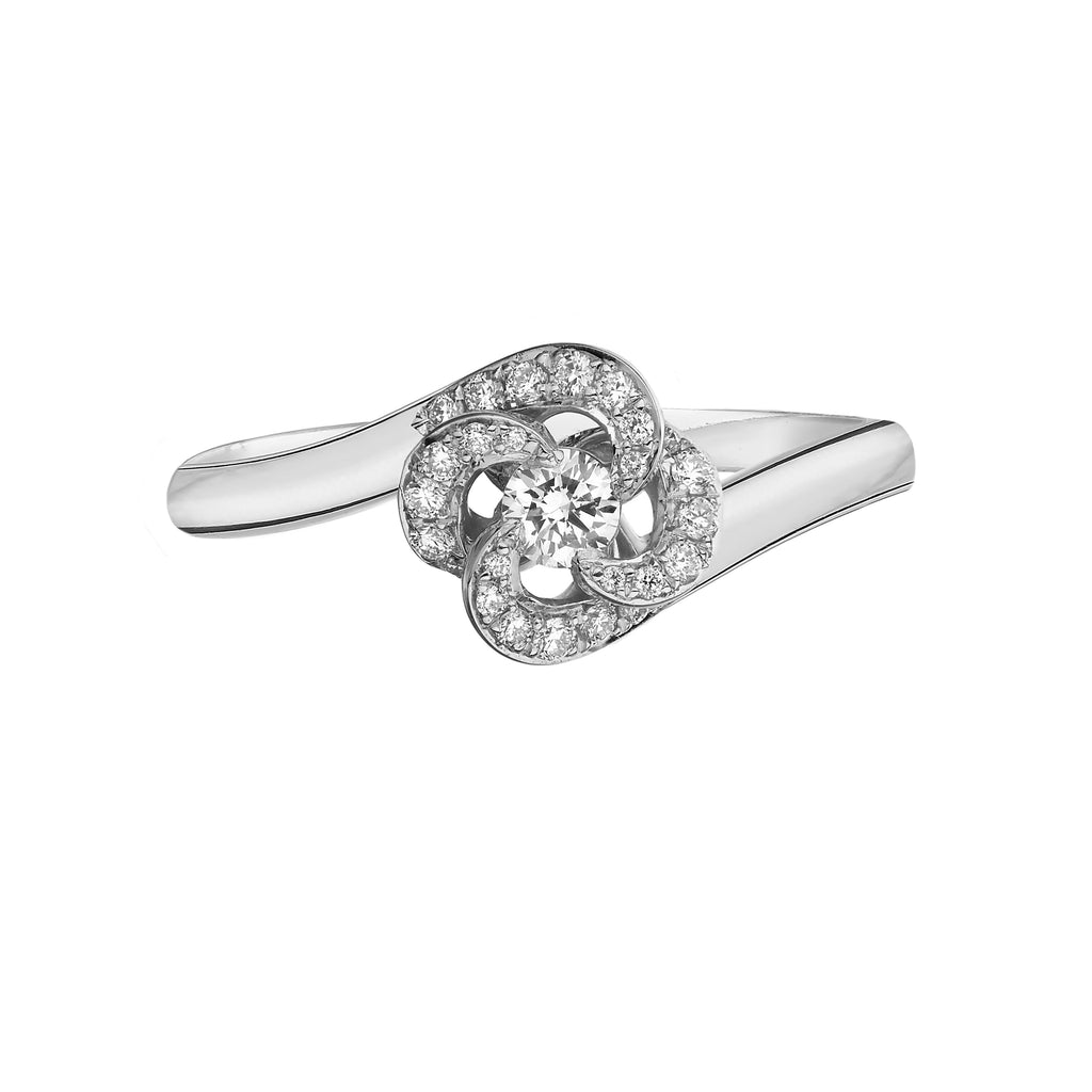 18ct White Gold 0.10ct Diamond and Flower Pave Engagement Entwined Petal Ring