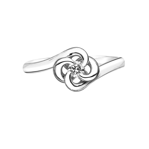 18ct White Gold 0.10ct Diamond Entwined Petal Ring