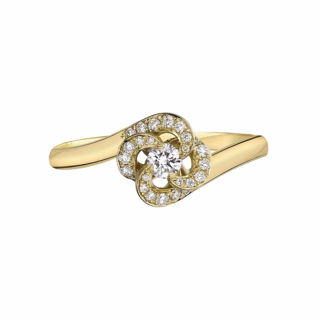 18ct Yellow Gold 0.10ct Diamond Flower Pave Engagement Entwined Petal Ring