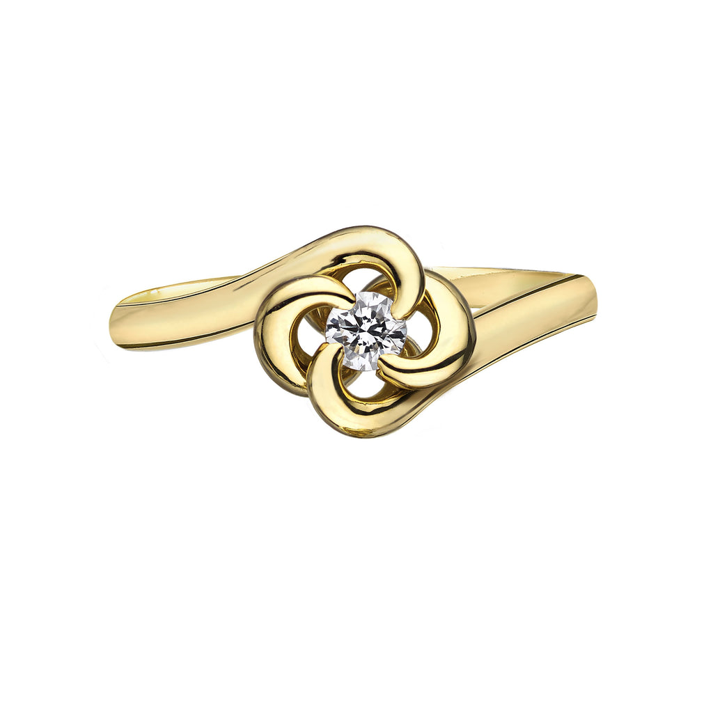 18ct Yellow Gold 0.10ct Diamond Entwined Petal Ring