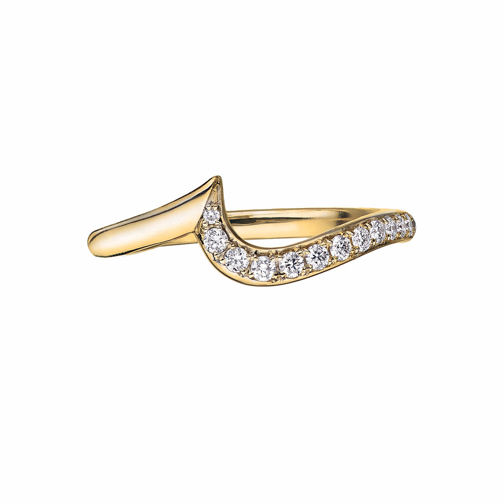 18ct Yellow Gold and Diamond Pave Entwined Petal Wedding Ring