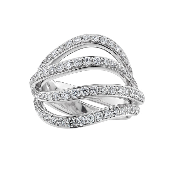 18ct White Gold and Diamond Bombay Entwined Ring