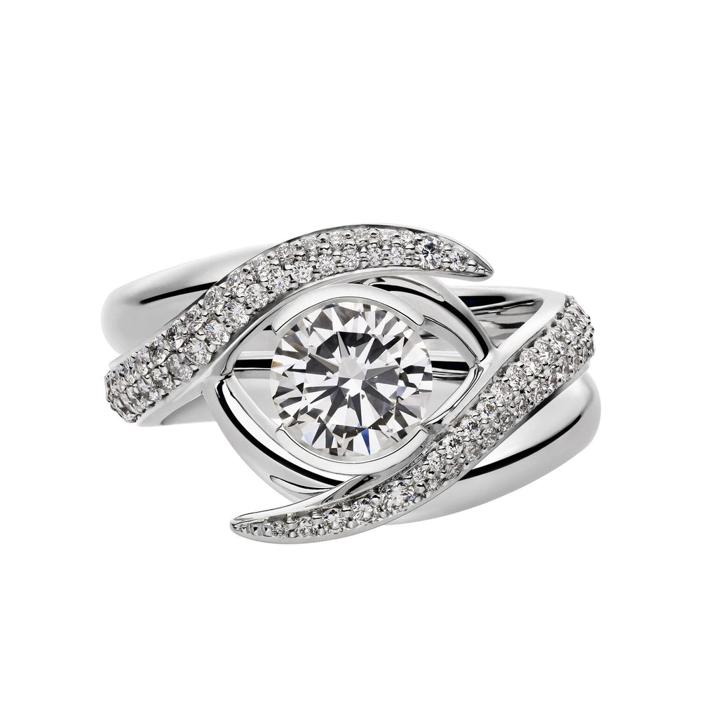 White Gold 1.00ct Interlocking Solitaire Ring Set