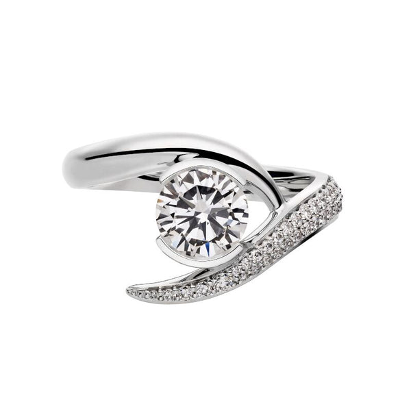 18ct White Gold 0.75ct Diamond Inward Entwined Engagement Ring