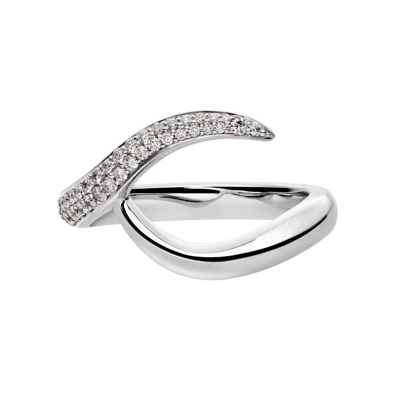 White Gold and White Diamond <br> Inward Pave Set Wedding Band