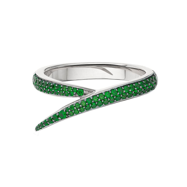 18ct White Gold and Green Tsavorite Single Interlocking Ring