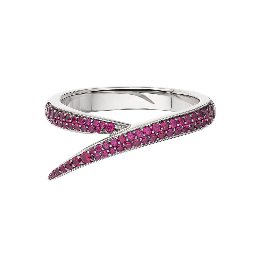 18ct White Gold and Pink Sapphire Single Interlocking Ring
