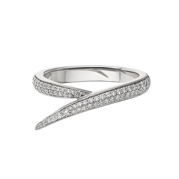 18ct White Gold and Diamond Single Interlocking Ring