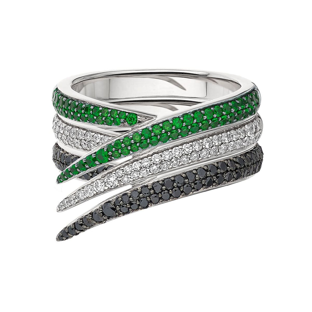 White & Black Diamond and Tsavorite Interlocking Stack