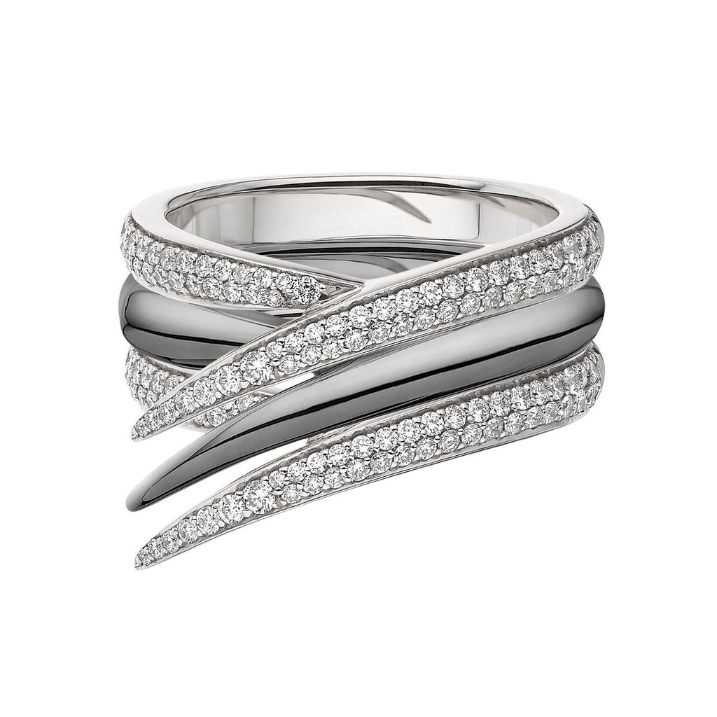 White Diamond and Black Rhodium Interlocking Stack