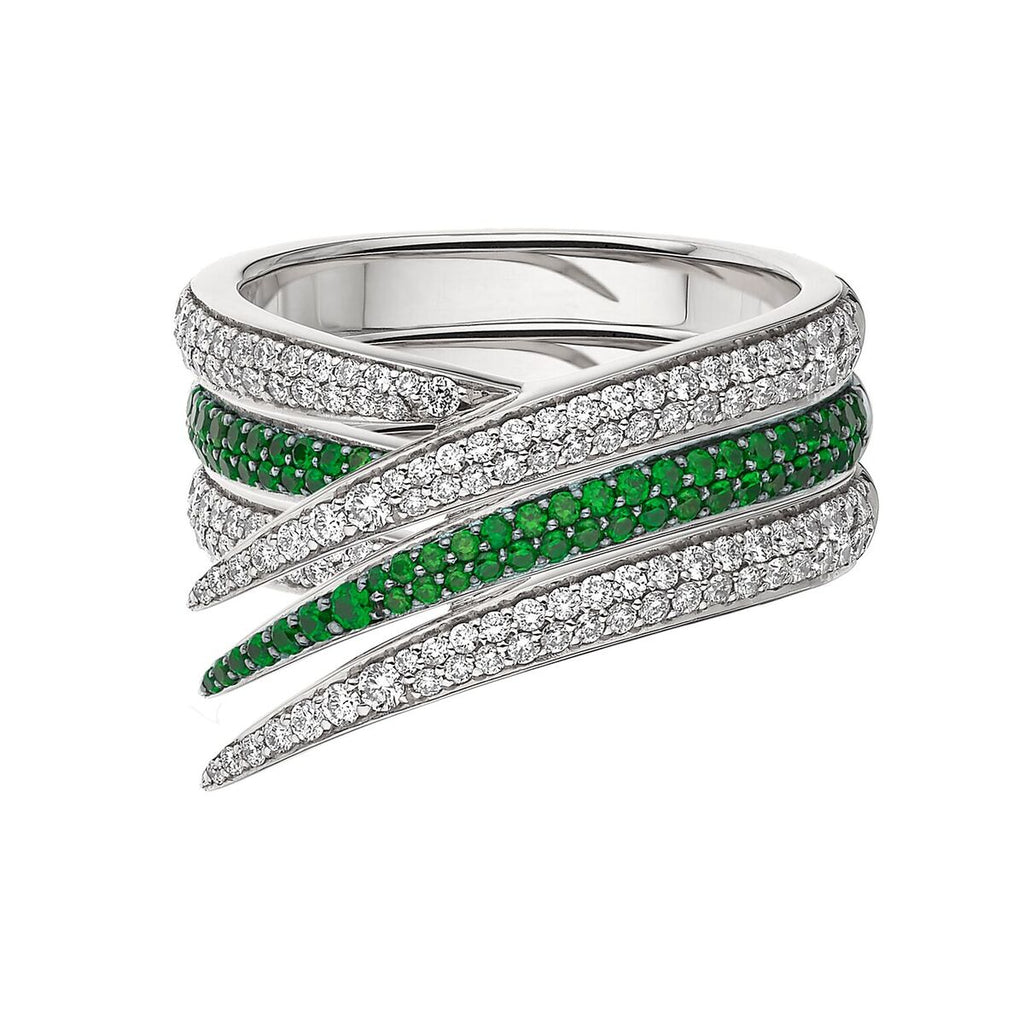 White Diamond & Tsavorite Interlocking Stack