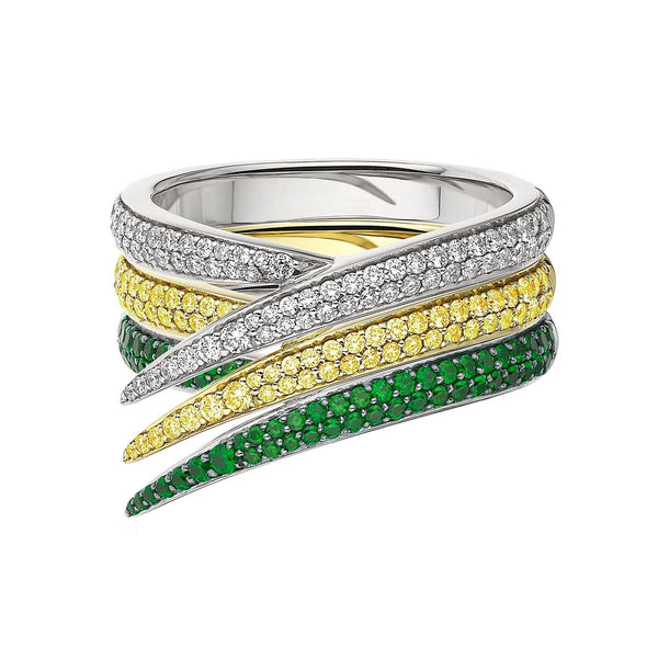 White Diamond and Yellow Sapphire and Tsavorite Interlocking Stack