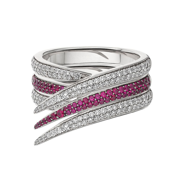 White Diamond and Pink Sapphire Interlocking Stack