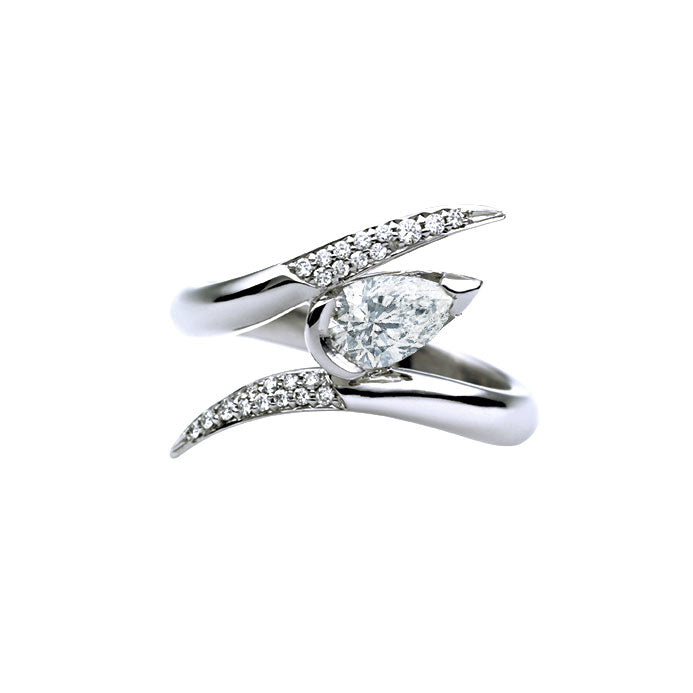 18CT White Gold 0.75CT Pear Shape Diamond Ariana Ring