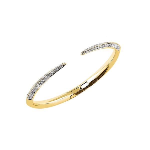 18ct Yellow Gold and Diamond Slim Sabre Bangle
