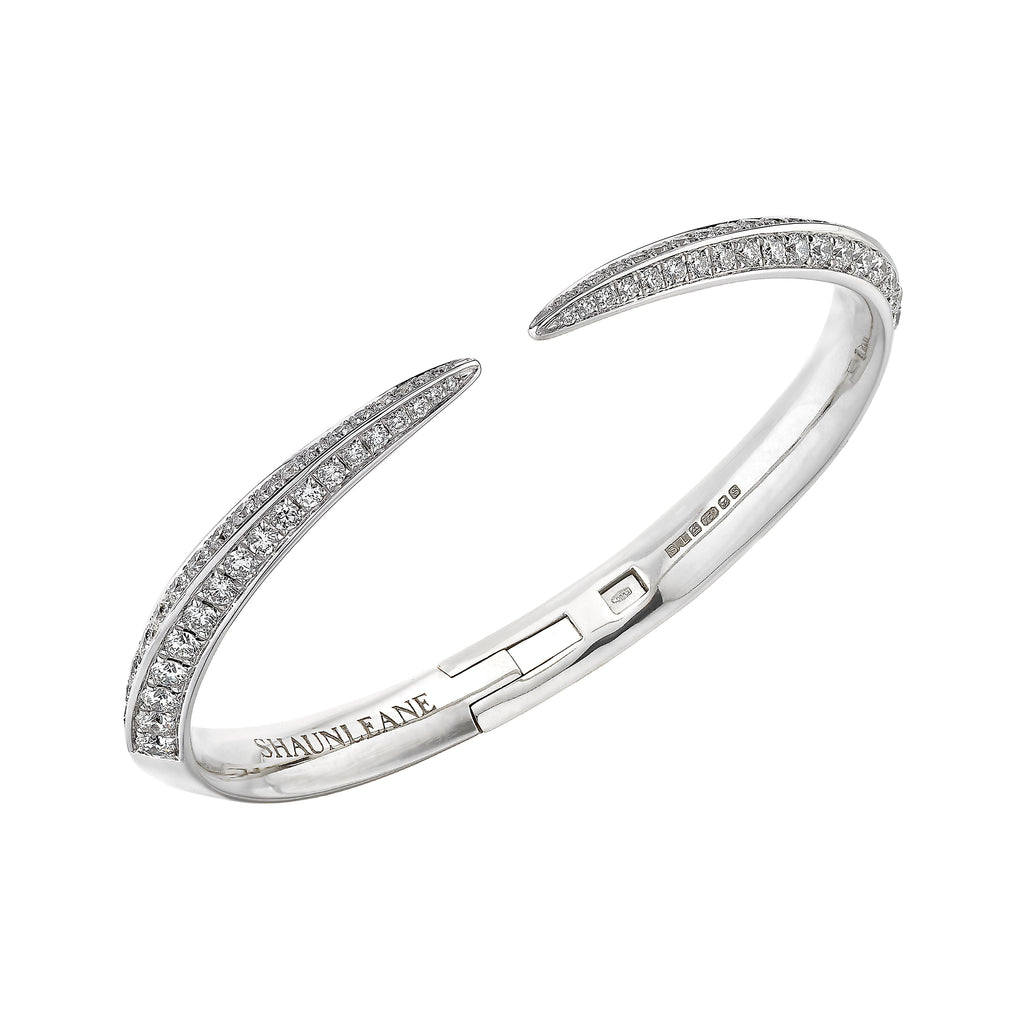 18ct White Gold and Diamond Medium Sabre Bangle