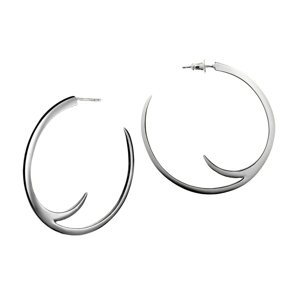 Silver Cat Claw Statement Hoop Earrings