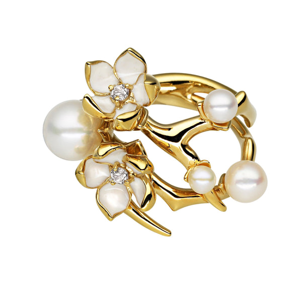 Yellow Gold Vermeil Cherry Blossom Diamond and Pearl Flower Ring