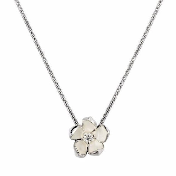 Silver and Diamond Cherry Blossom Pendant