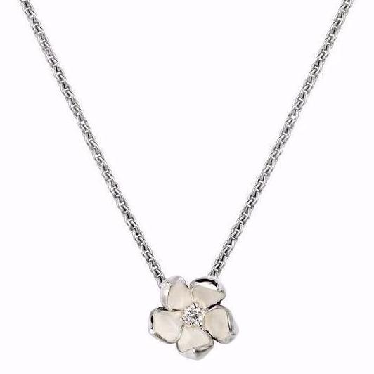 Silver and Diamond Small Cherry Blossom Pendant