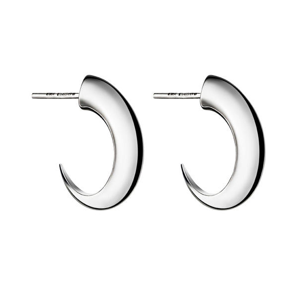 Silver Cat Claw Medium Hoop Earrings