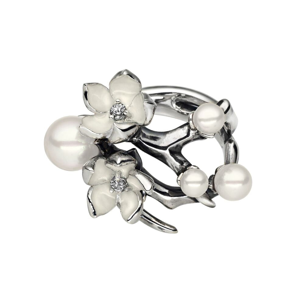 Silver Cherry Blossom Diamond and Pearl Flower Ring