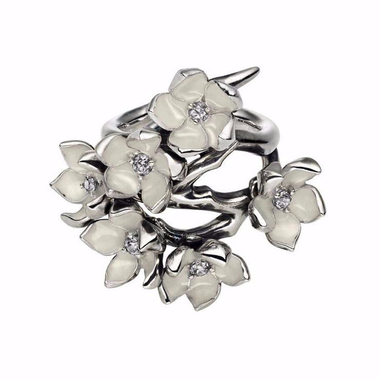 Silver Cherry Blossom Full Flower Diamond Ring