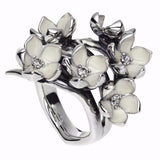 Silver and Diamond Full Cherry Blossom Ring