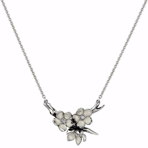 Silver and Diamond Small Branch Pendant
