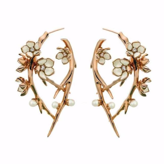 Rose Gold Vermeil Cherry Blossom Diamond and Pearl Hoop Earrings