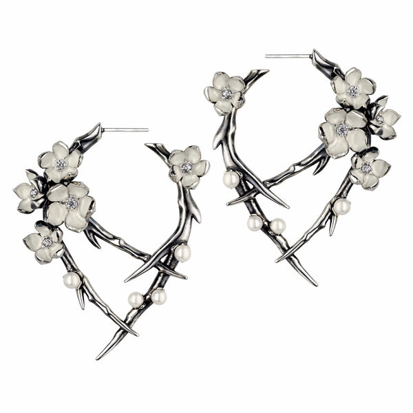 Silver Cherry Blossom Diamond and Pearl Hoop Earrings