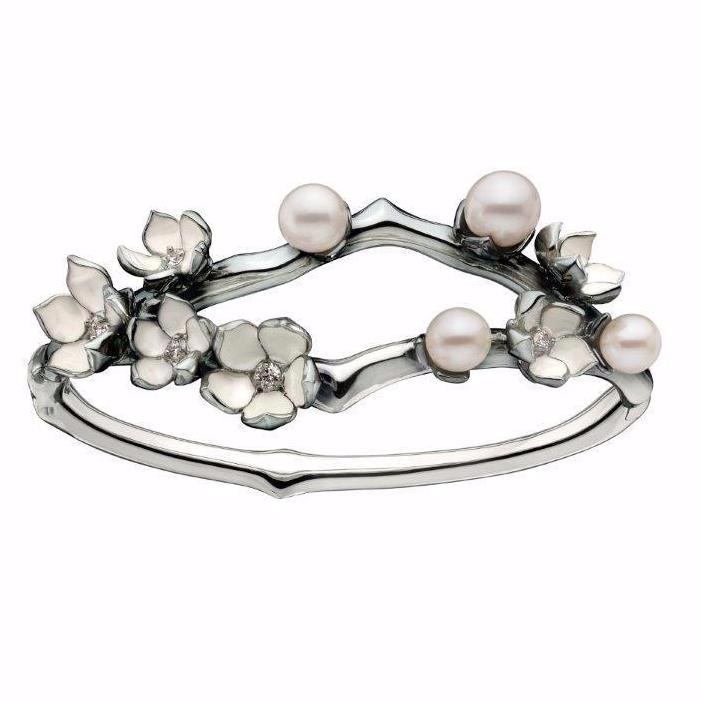 Silver Cherry Blossom Diamond and Pearl Bangle