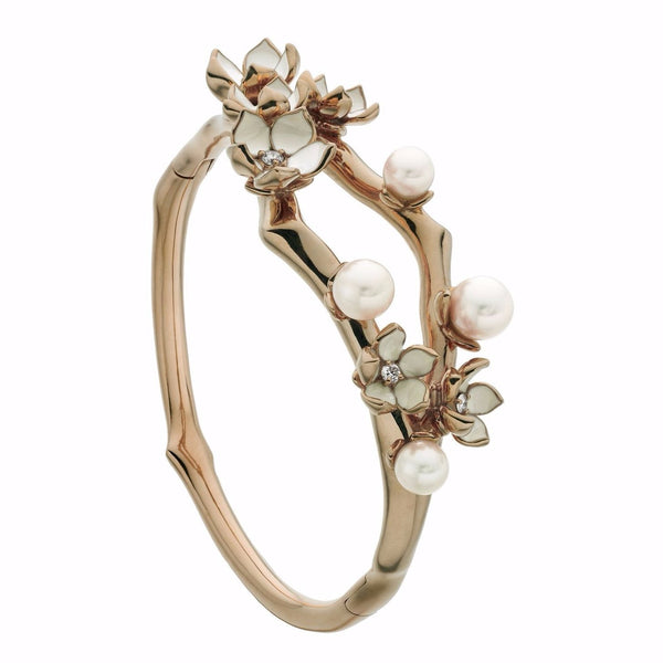 Rose Gold Vermeil Cherry Blossom Diamond and Pearl Bangle