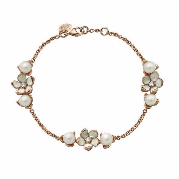 Rose Gold Vermeil Cherry Blossom 3 Flower Diamond and Pearl Bracelet