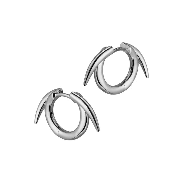 Silver Thorned Hoop Earrings